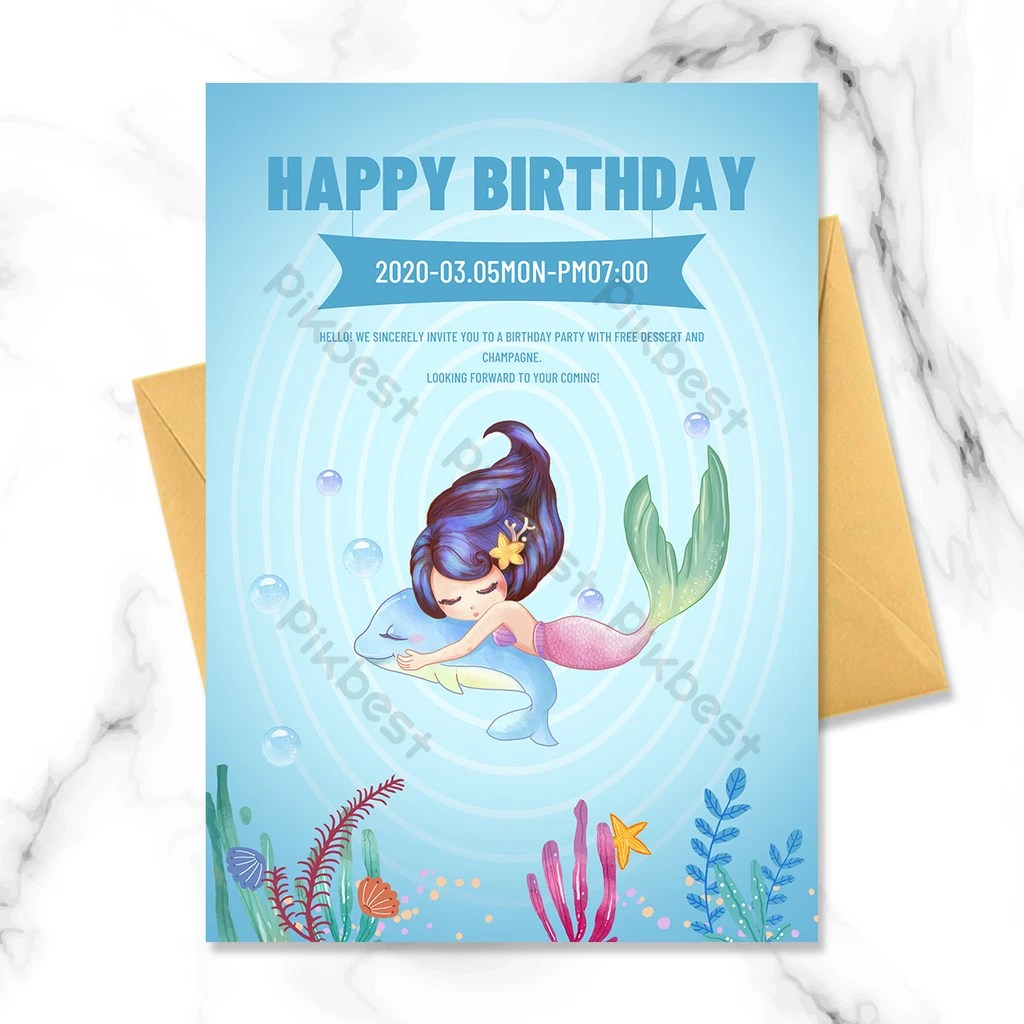 mermaid girl birthday invitation psd