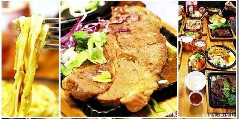 台中。美食 【鉄板伍味】99元夜市牛排升級版 五種醬汁可以選擇還有多種配菜隨意搭配 牛排/排餐/羊排/焗烤/蓋飯