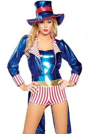 Blue Sexy Ladies Uncle Sam Adult Circus Costume PINK QUEEN