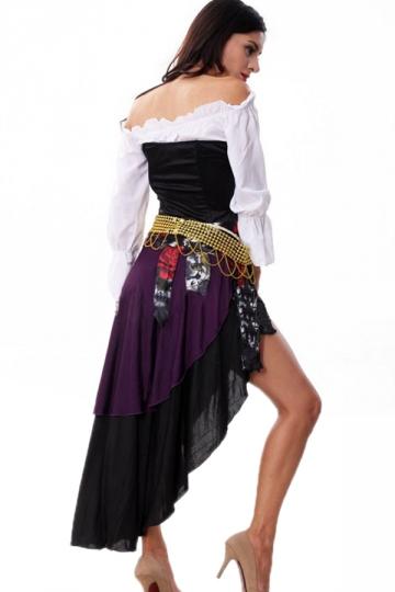 Black Gypsy Womens Halloween Folk Costume PINK QUEEN