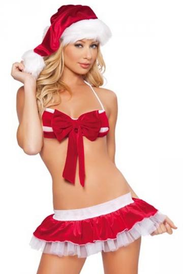 Red Sexy Ladies Christmas Bow Bikini Pleuche Santa Costume PINK QUEEN