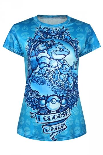 Ladies Crew Neck Pokemon I Choose Water Cartoon Printed T Shirt PINK QUEEN