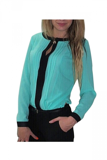 Turquoise Chiffon Crew Neck Long Sleeve Slimming Womens Blouse PINK QUEEN