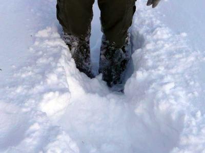 新しく降った雪は50cm、膝までのラッセルだ。