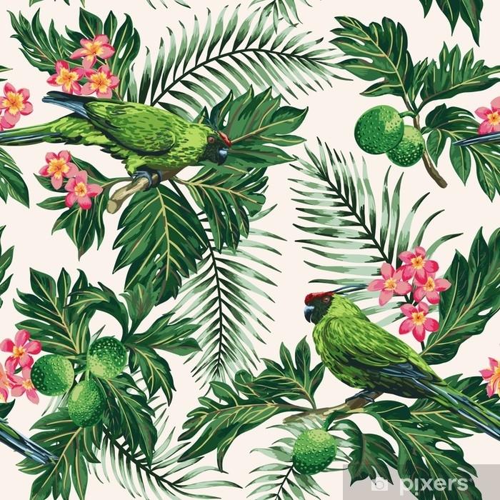 rideau occultant motif tropical sans couture avec des feuilles des fleurs et des perroquets pixers nous vivons pour changer