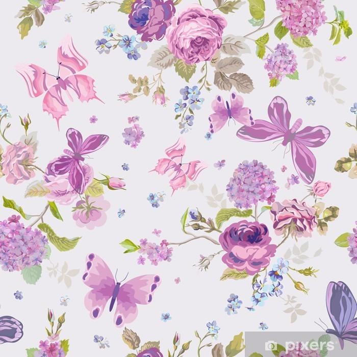 Queste carte da parati sono perfette per tutti i tipi di arredamento: Carta Da Parati Fiori Primavera Sfondo Con Butterflies Seamless Floral Shabby Pixers Viviamo Per Il Cambiamento