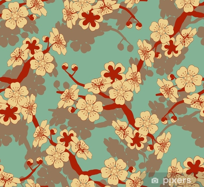 rideau occultant une tuile sans couture de style japonais avec une branche de cerisier et un motif de fleurs en ivoire et bleu et rouge pixers nous vivons pour changer