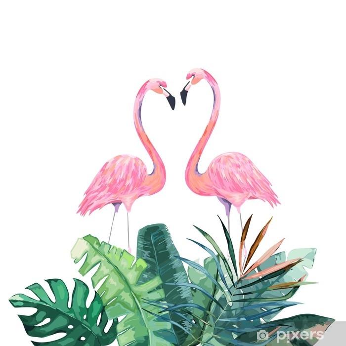 sticker couple de flamants roses impression tropicale pour invitation anniversaire celebration carte de voeux illustration vectorielle pixers nous vivons pour changer
