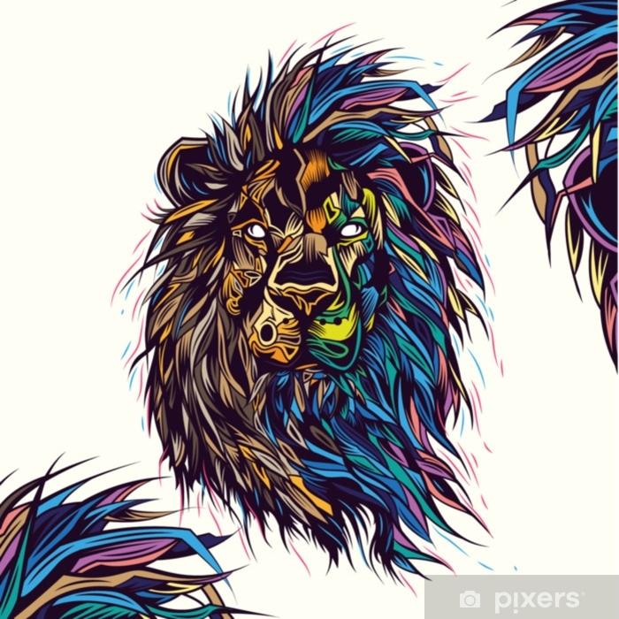 sticker illustration vectorielle originale d un lion sur fond blanc style abstrait au neon