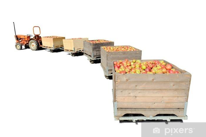https pixers fr papiers peints vieux tracteur transportant des caisses en bois pleines de pommes fraiches 29408710