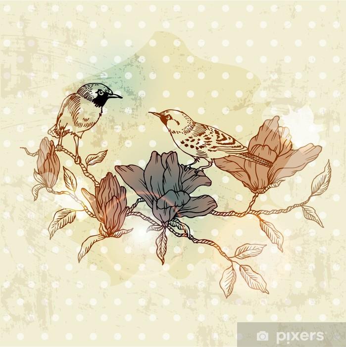 Scarica carta da parati a fiori. Carta Da Parati Scheda Vintage Spring Con Uccelli E Fiori Disegnato A Mano In Formato Vettoriale Pixers Viviamo Per Il Cambiamento