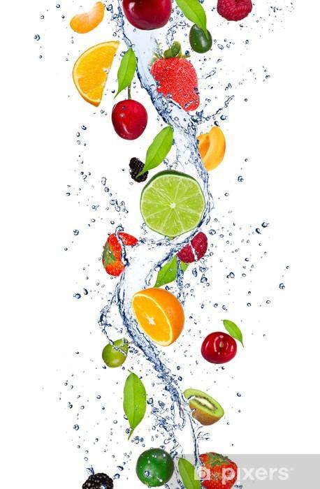 Fresh Fruits Falling In Water Splash Wall Mural Pixers We Live To Change