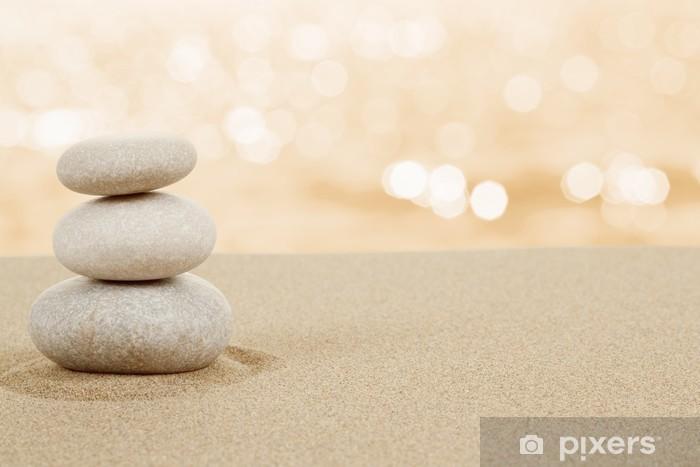 https pixers fr rideaux occultants solde des pierres zen dans le sable sur blanc 49204222