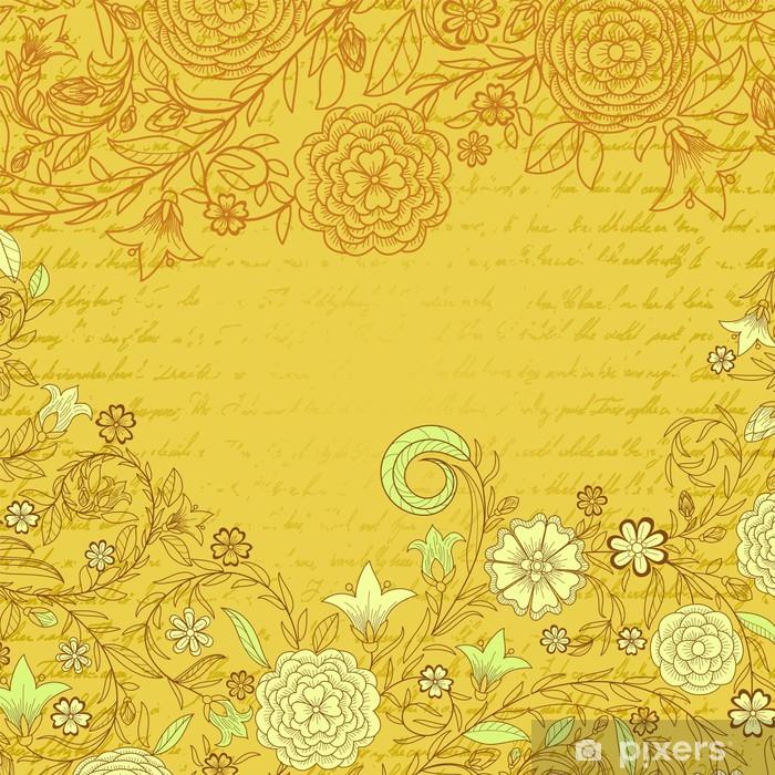 papier peint vintage fond sale jaune avec des fleurs et de la lettre pixers nous vivons pour changer
