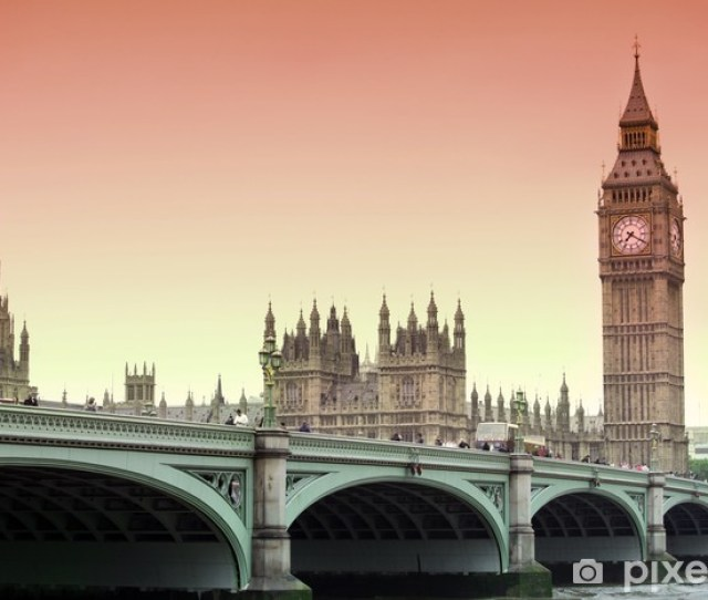 Famous Sunset View At Big Ben London Gothic Architecture Uk Vinyl Wall Mural