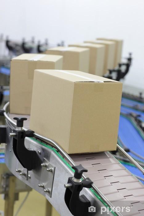 https pixers fr papiers peints boites en carton sur tapis roulant dans l 39 usine 57965089