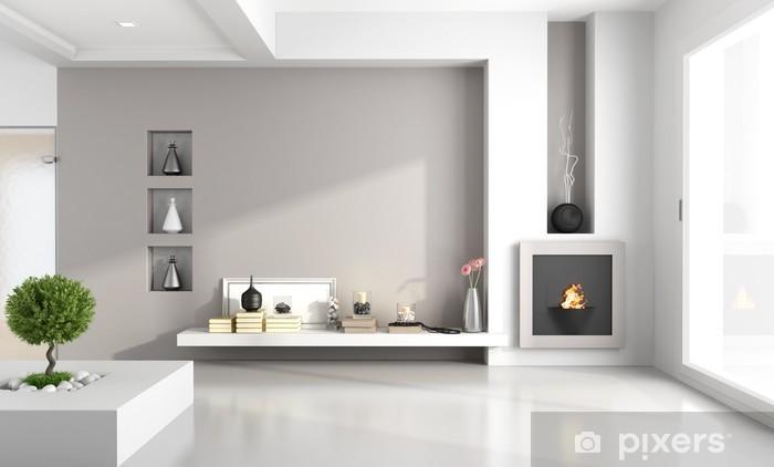 Basta scegliere materiali, colori e fantasie giuste che si abbinino allo stile che vuoi dare all'ambiente. Carta Da Parati Minimalista Salotto Con Camino Pixers Viviamo Per Il Cambiamento