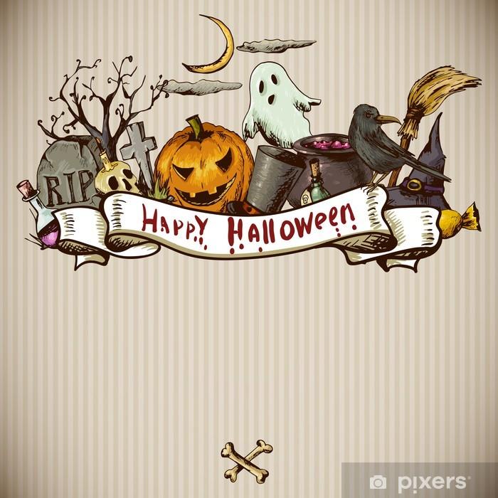 https pixers fr papiers peints halloween hand drawn carte d 39 invitation 70181644