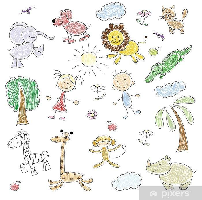È una fase molto importante dell'attesa del bambino. Carta Da Parati Disegni Dei Bambini Doodle Animali Pixers Viviamo Per Il Cambiamento