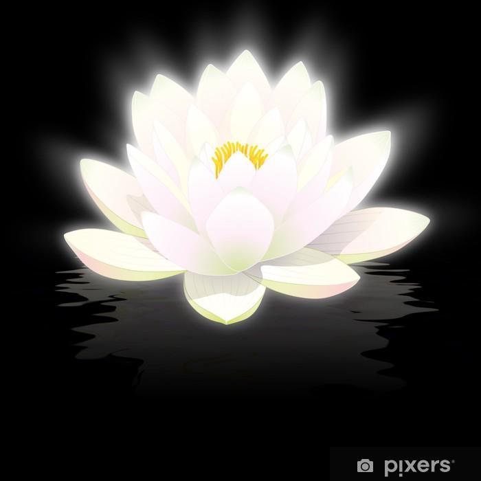 poster fleur de lotus blanc sur fond noir avec reflets pixers wir leben um zu verandern