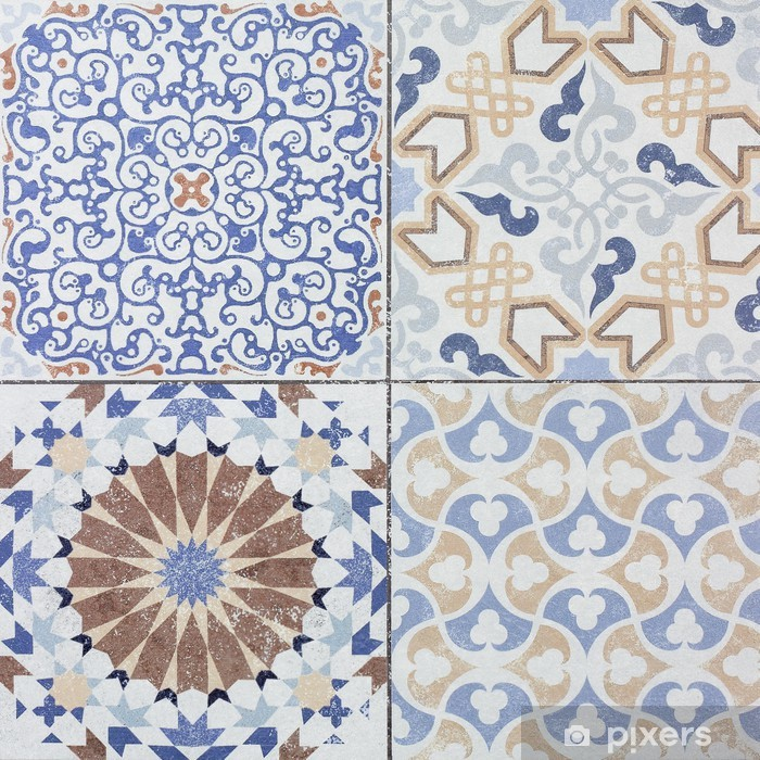beautiful old ceramic tile wall patterns in the park public wall mural pixers we live to change