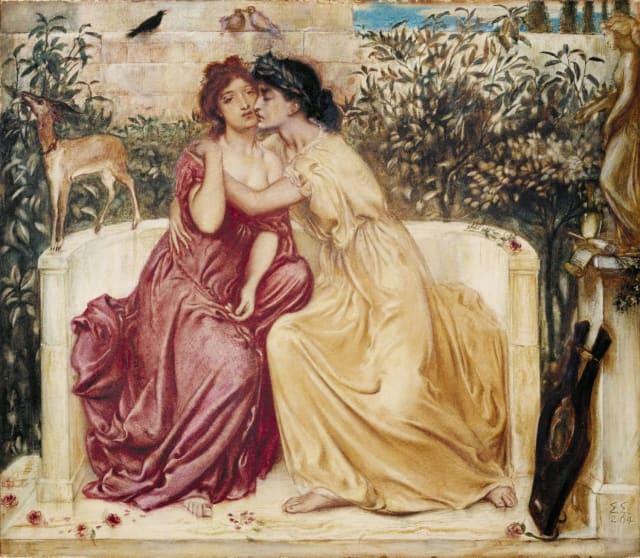 """""""Safo y Erina en un jardín en Mitilene"""" (1864) realizado por Simeon Solomon.-"""