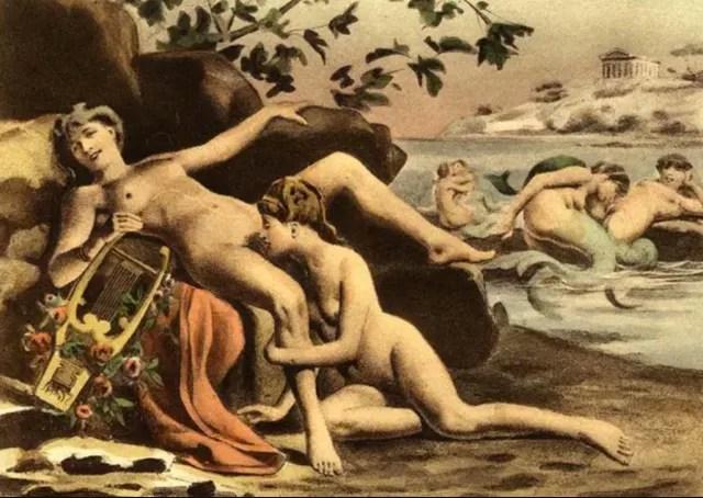Édouard-Henri Avril pintura describiendo la vida de Safo.-