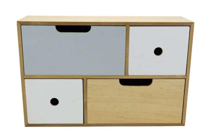 action petit meuble en bois avec 4