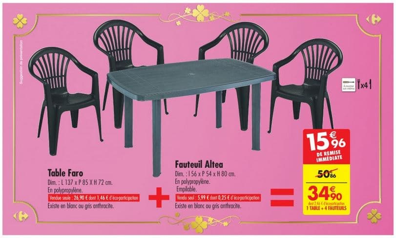 carrefour ensemble de jardin 1 table