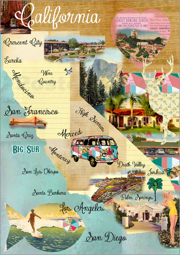 GreenNest Vintage California Map Collage Poster On Wooden