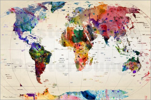 World Map Showing Landmarks Path Decorations Pictures Full Path - World map poster with cities