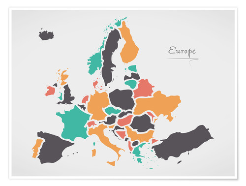 Europe Map Modern Abstract With Round Shapes Posters And