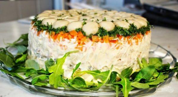 """""""Грибная полянка"""" салат - пошаговый рецепт с фото на Повар.ру"""