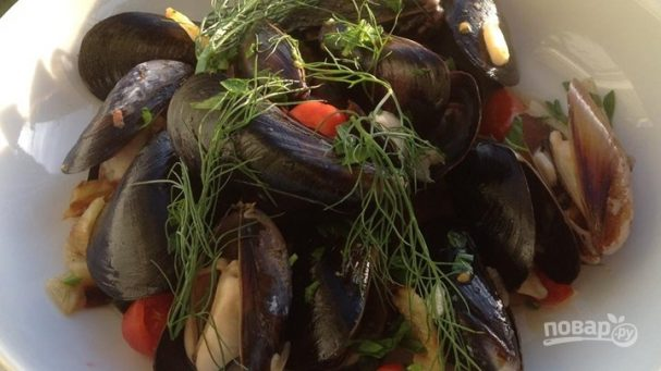 midii v belom vine 398184 - Mussels in white wine
