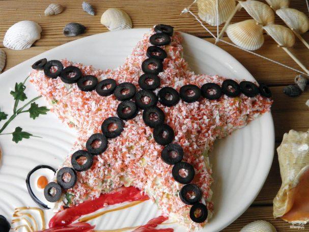 """salat quotmorskaya zvezdaquot s krabovimi palochkami 271471 - Salad """"starfish"""" with crab sticks"""