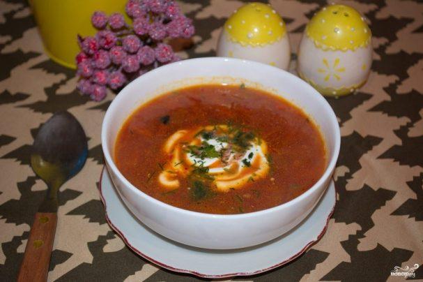 borsh na govyajem bulone 229639 - Soup with beef broth