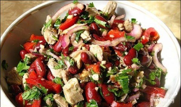Салат с фасолью и мясом - пошаговый рецепт с фото на Повар.ру