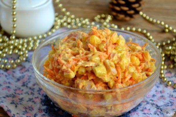 Салат с корейской морковкой и копченой курицей - пошаговый ...