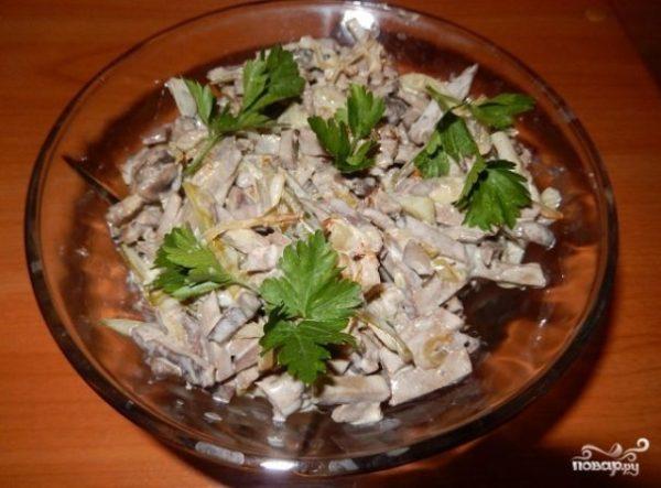 Салат с печенью и грибами - пошаговый рецепт с фото на ...