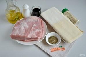 """Мясо в тесте """"Шахматная доска"""" - фото шаг 1"""