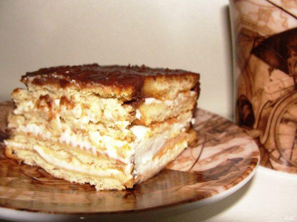 Торт без выпечки из печенья пошаговый рецепт с фото на