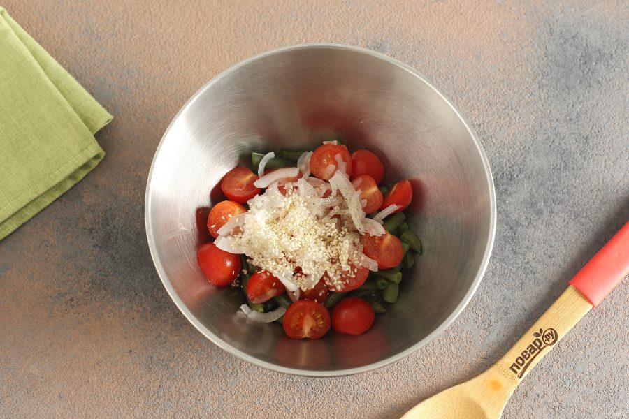 Постный салат из стручковой фасоли