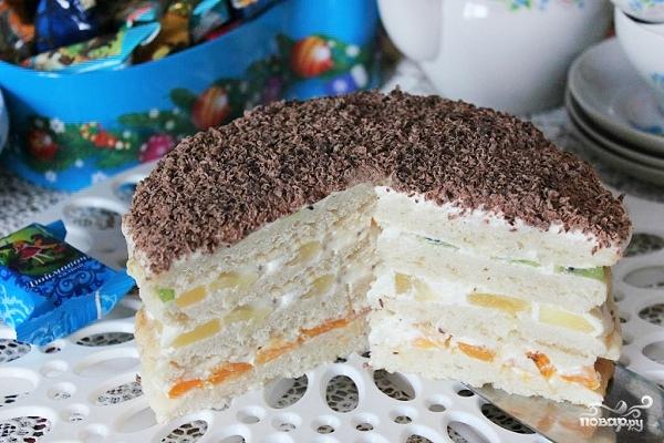 Торт сметанный с фруктами - пошаговый рецепт с фото на ...