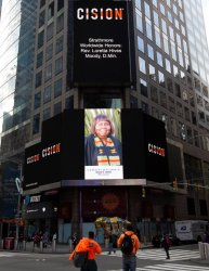 Rev. Loretta Hives-Moody, M.Div. Showcased on the Reuters Billboard in Times Square in New York City by Strathmore's Who's Who Worldwide