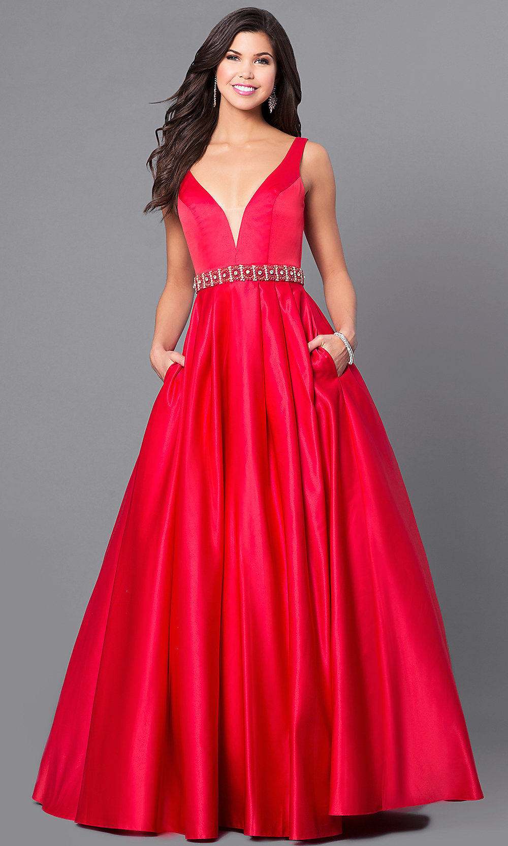 Long Prom Gown With V Neck And Pockets