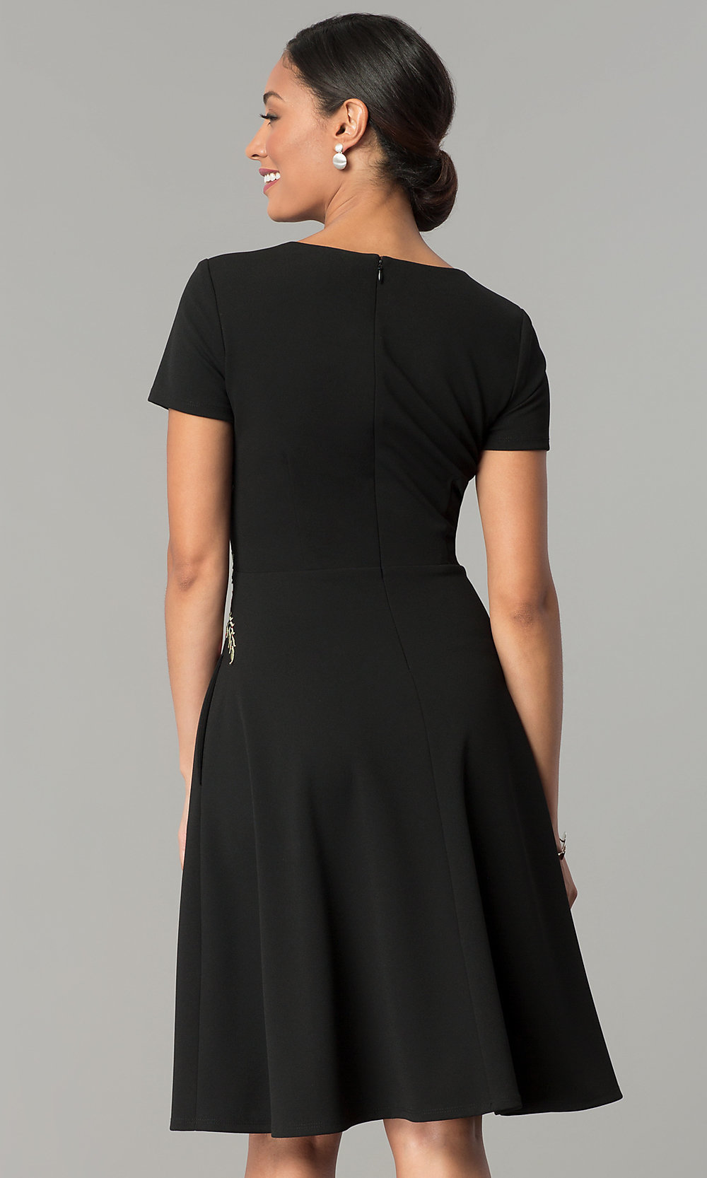 Casual Black Knee-Length Party Dress-PromGirl