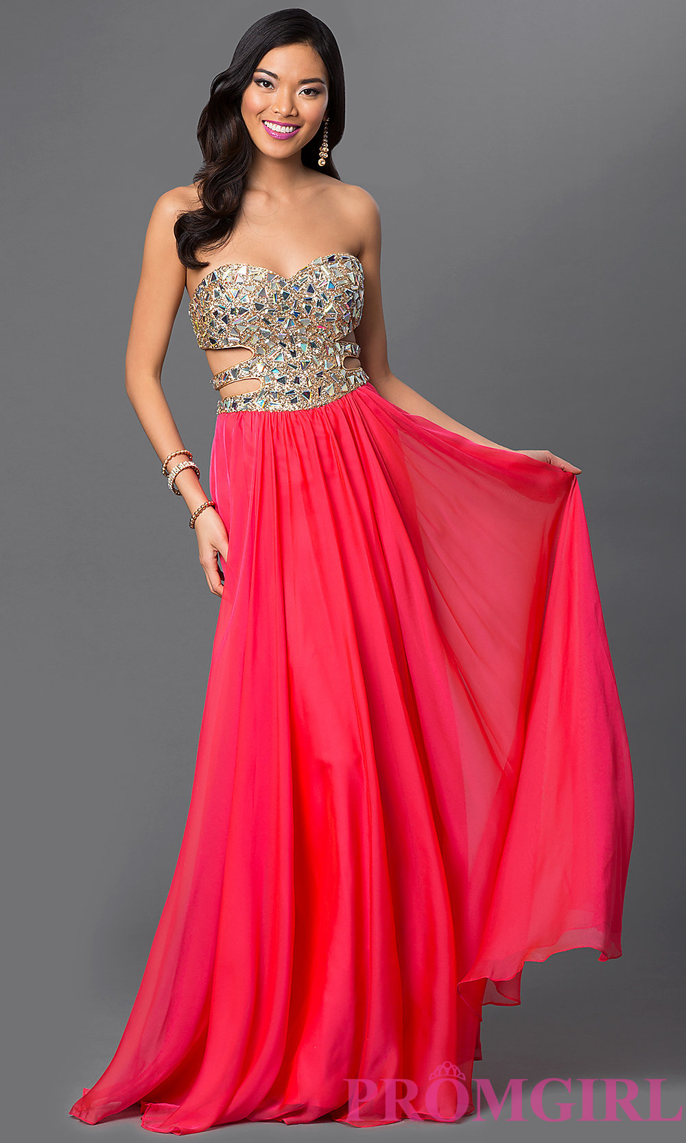 Sexy Cut Out Prom Gown La Femme Strapless Prom Dresses