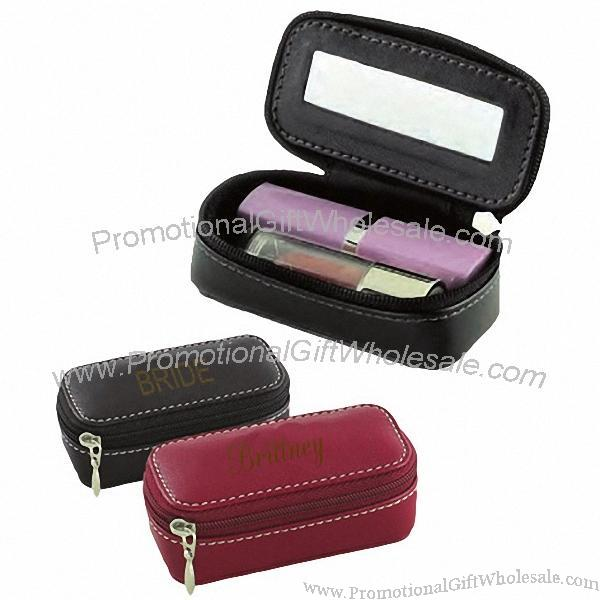 Compact Mirror Lipstick Leather Case The Art Of Beauty