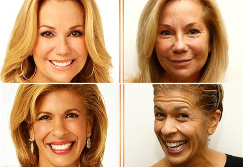 Com aparelhos de televisão de alta definição, as maquiagens ficam cada vez melhores para esconder as imperfeições nos mínimos detalhes. Mas os apresentadores de um programa de TV matinal norteamericano foram na contramão dessa tendência e ficaram de cara limpa ao vivo