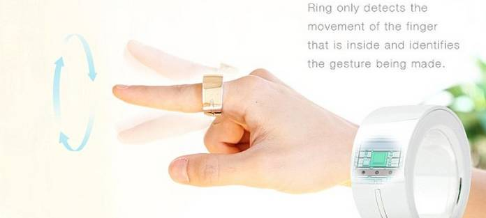 """O anel 'Ring' da Logbar é a mais recente inovação do ramo da tecnologia """"de vestir"""". Feito para ser usado no dedo indicador, o dispositivo pode ser utilizado para controlar itens domésticos, aplicativos e até fazer pagamentos via internet. O acessório foi criado por uma empresa californiana e tem previsão de lançamento para julho deste ano. As primeiras versões do dispositivo podem ser encomendadas no regime de pré-venda por cerca de R$ 290"""